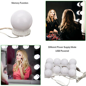 10X Hollywood LED Vanity Mirror Lights Kit Dimmable Bulbs For Makeup Dressing PE