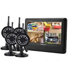 "4CH Wireless Quad Core DVR 4 Camera With 7"" TFT-LCD Monitor Home Security System"
