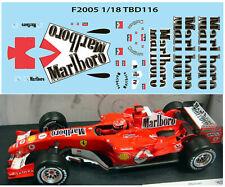 1/18 FERRARI F1 F2005 F 2005 MICHAEL SCHUMACHER SPONSOR DECALS TB DECAL TBD116