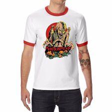 Pumpkinhead & Zombie Funny Men's T-shirt Ringer Cotton White Short Sleeve Tops