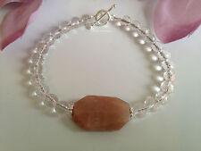 Handmade Genuine Gemstone Jewellery, Quartz & sunstone bracelet