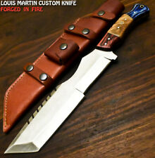 Louis Martin Rare Handmade D2 Tool Steel Olive Wood Hunting Tracker Knife