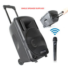 """10"""" Portable PA System with Trolley & Wheels Powered Speaker & UHF Microphone"""