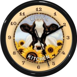 Personalized Sunflower Daisey Cow Wall Clock