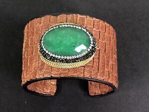 chain wrapped emerald quartz wide cuff woven textured leather bracelet sz 7/8