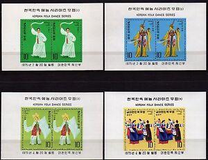 #505 - Corea del Sud - Lotto di 4 foglietti (danze tradizionali), 1975 - Nuovi