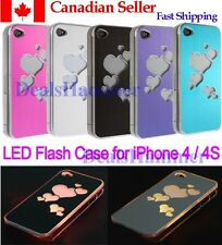 LED Changing Heart Brushed Sense Flash Light Up Glow Case iPhone 4 4S BLUE
