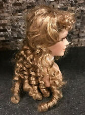 Vintage Doll Head 5� Curly Blonde Hair Brown Eyes Necklace Lashes Parts Repair