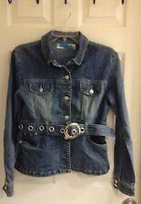 Apollo, Junior girls size medium, Denim Jean Jacket, Belt, Pockets, button up