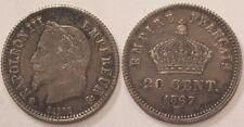 20 Centimes argent Napoléon III, 1867 BB, TTB !!