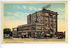 News Building GREENVILLE SC Rare Antique PC Wrigley's Gum Sign 1910s