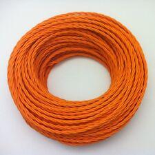 50m Design Textilkabel, 3x0,75, geflochten, Orange, Top EU Qualität Stoffkabel