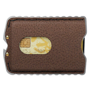 Slim EDC Wallet Coffee Leather Credit Card Holder  for Men-Silver Metal