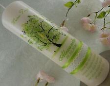Taufkerze Lebensbaum grün Taufkerzen Baum Mädchen Jungen mit Name Datum Spruch