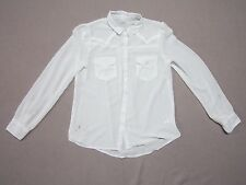 KIMCHI BLUE WOMENS WESTERN STYLE WHITE POLYESTER L/S BUTTON UP SHIRT SIZE MEDIUM
