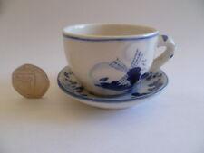 Vintage Rare Blue Delft Deco Hand Painted Holland Miniature 2CL Teacup & Saucer