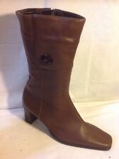 Lotus Brown Mid Calf Leather Boots Size 5