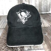PITTSBURGH PENGUINS REEBOK BLACK HAT CAP ADJUSTABLE STRAP BACK NHL HOCKEY CURVE