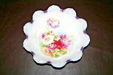 "Vintage Johann Seltmann JSV Fine Bavarian China 11"" Purple Bowl w/ Floral Decor"