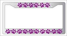Chrome License Plate Frame PUPPY FEET (PURPLE) Auto Accessory