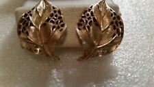 VINTAGE ESTATE,SIGNED TRIFARI FILIGREE LEAF CLIP ON  EARRINGS ,GOLD PLATED