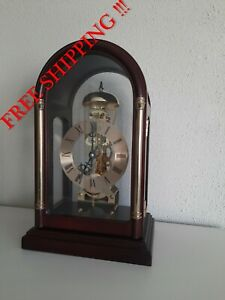 Vintage Mantel TRANSLUCENT German skeleton clock with bell ( 0353 )
