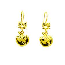 1 PAIR EARING GOLD PLATED 24K SHINNY APPLE LEAF HOOK GLITTER ORIENTAL FASHION