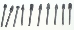 "Carbide Burrs small head 1/8"" 10 x shank porting polishing cylinders"