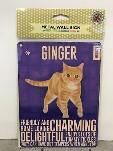 Ginger Cat SMALL - Tin Metal Wall Sign *Top 100*