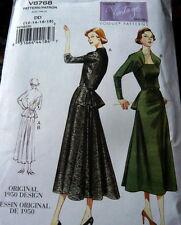 1950s VOGUE VINTAGE MODEL DRESS SEWING PATTERN 6-8-10-12 UNCUT