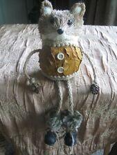 Folk Art Bristle Straw Sitting Fox Fur Trimmed Boots Leaf Body Pine Cone Hands