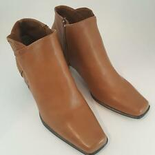 """Life Strides Sherbrooke Leather Ankle Zip Boots Latte Late Sz 6.5M 2"""" Heel New"""
