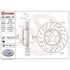 BREMBO 2x Bremsscheiben Gelocht/innenbel. beschichtet 09.A621.31