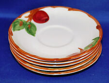 Five Vintage Franciscan Apple Pattern Saucers Ca: 1949 to 1961