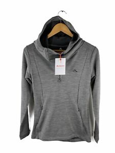 Macpac NEW Wool Blend Jumper Womens Size 6 Grey Glacier Hooded Zip Pullover