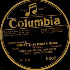 """ENZO DE MURO LOMANTO -TENOR- """"Rigoletto"""" La Donna e Mobile Schellackplatte S1812"""