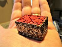 Small Silver Red Resin Carved Trinket Storage Box Resembling Cinnabar