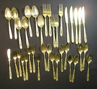 Lot of 35 Silverware Set Forks Knives Spoons Cutlery, Gold Color, Roses, Floral