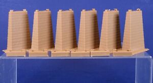 Set of 6 Faller HO Scale Brown Plastic Track Piers & Risers 544