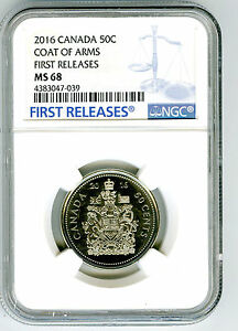 2016 CANADA 50 CENT HALF DOLLAR NGC MS68 COAT OF ARMS FIRST RELEASES TOP POP=2