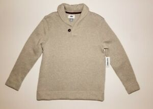 Old Navy Boys Medium (8) Shawl Collar Pullover Sweater Oatmeal Heather Beige Tan