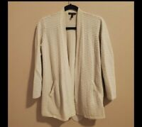 Eileen fisher ribbed 80%silk 20%cotton blend cream cardigan Size M