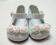 White Ankle Strap Mary Janes with Rose Trim Fits 18 inch American Girl Dolls