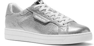 Nib Michael Kors keating women's lace up sneakers silver leather shoes size 7.5