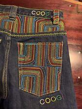 COOGI Med Blue Denim Multi-Color Embroidered Pocket Baggy Jean Shorts ~ Boy's 12