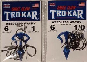 Eagle Claw Trokar Weedless Wacky Hook TK97W Sizes 1-2-1/0-2/0 Choose FREE S/H