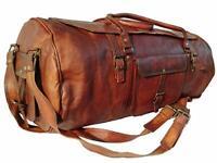 Genuine Brown Art Leather Men's Handmade Travel Tote Duffle Gym Shoulder Bag