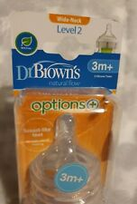 New Dr Brown's Options + Level 2 Teats For Baby Feeding Bottle wide neck 3m+