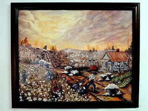 ETHNIC COTTON PICKING PICTURE COTTON FIELDS AFRICAN AMERICAN FRAMED ART 16X20