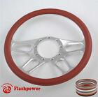 14 Universal Billet Aluminum 9 Hole Steering Wheel Wburgundy Leather Wrap